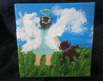 Mini 2x2 inch Acrylic Painting for Your Dollhouse of a Little Angel