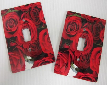 2 light switch covers, roses design