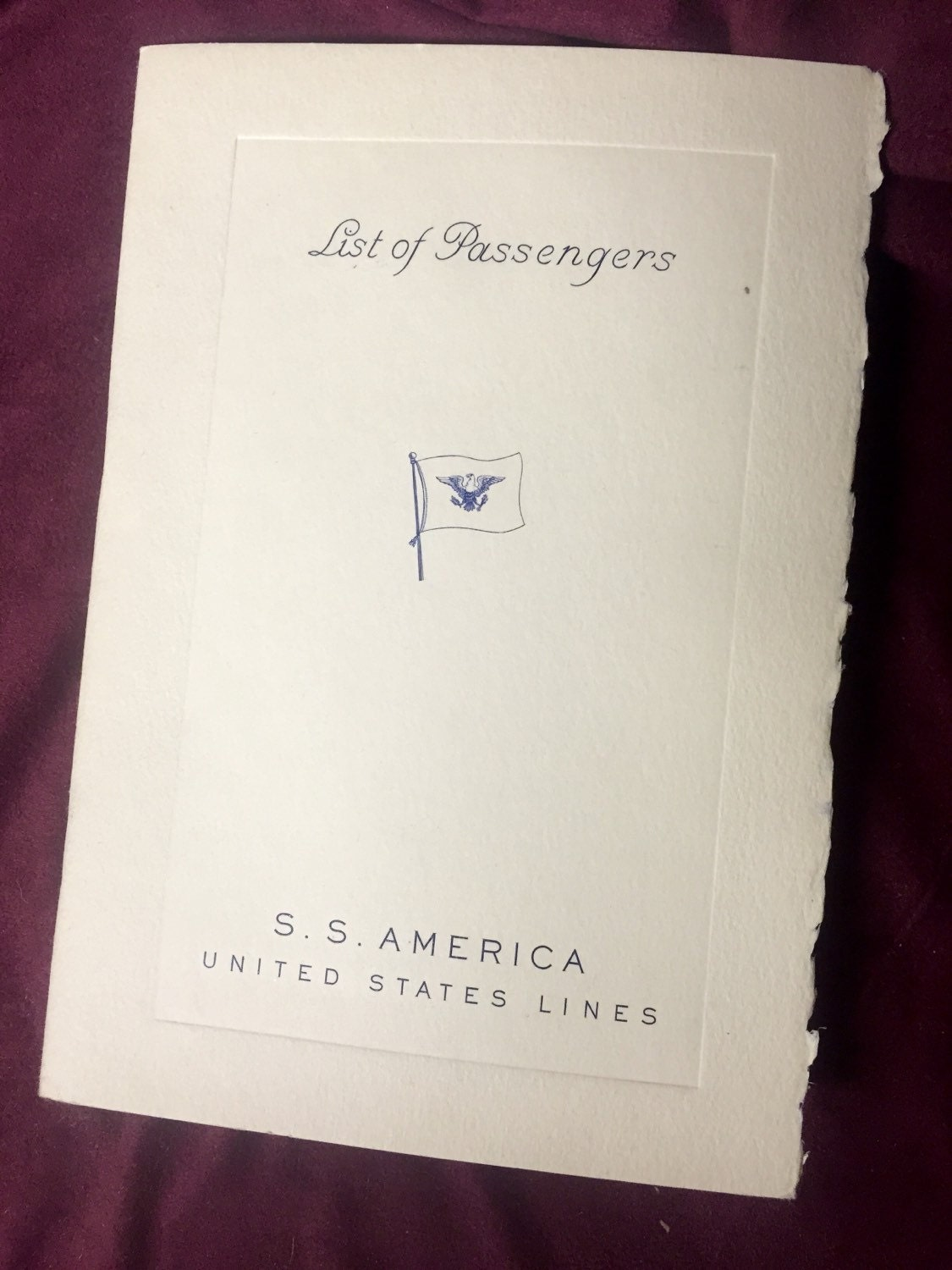 1948 SS America Passenger List - From NY to Havre, Southampton ...
