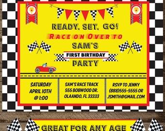 Race Car Birthday Invite, Race car invitation, Boy's Race car birthday, Boy's race car invite, cars, digital file, download, race car theme