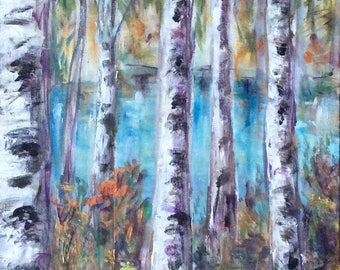 Birches Trees Landscape Aspen Tree Abstract Painting Original Painting 36 x 18""