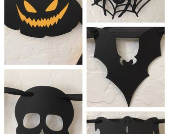 Fright Night Halloween Double Pennant Banner Party Decoration with Cutouts and Creepy Pumpkins