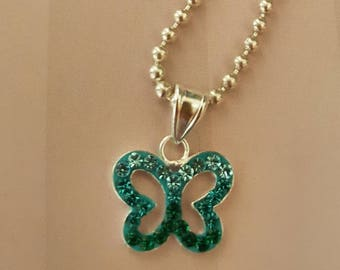 Turquoise sparkle butterfly necklace