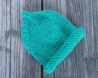Hand Knit Preemie Baby Beanie Cap, Hand Knit Pixie Hat, Newborn Infant Size 3 to 5 pounds, Pixie Hat Girl Boy Aqua Blue Gender Neutral Gift