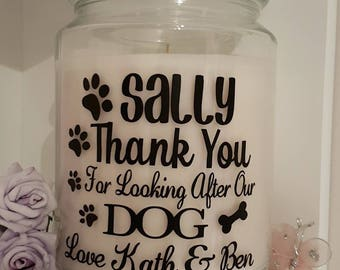 Personalised Sticker Label Thank You For Looking After My Cat/Dog/Rabbit/Hamster Our/My Pet Thanks Gift/Present for Candle/Empty Jar