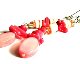 Red Coral, Swarovski and Mother of Pearl Earrings
