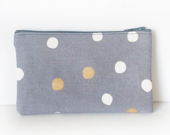 Zippered Coin Purse with Grey Polka Dot Print and Card Slot
