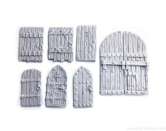 Castle doors (UNPAINTED) - Miniature tabletop furniture, dungeon decor