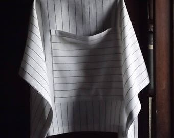 Linen apron. Striped apron. White and black striped linen half apron. Soft cafe apron.  S and M size. Long ties apron.