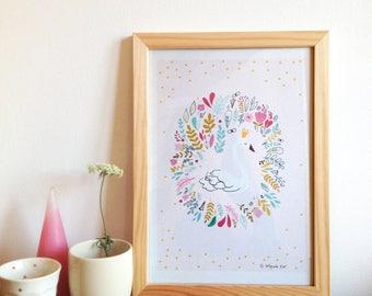 Swan print, Swan wall art, princess swan illustration, Poster for Kids Room - art print - kids room decor, size A4 - swan decor