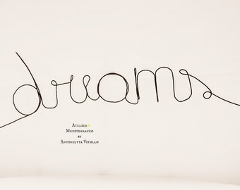 """Wire Word """"dreams"""" Wall Hanging Art"""