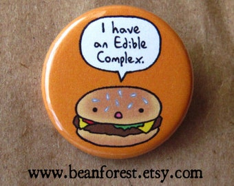edible complex (cheeseburger) - pinback button badge