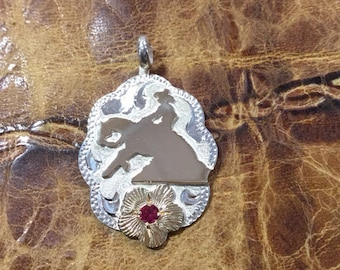 Reiner pendent/ Artisan Handmade/ Sterling Silver and 12 kt goldfill overlay flower