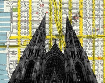 St. Patrick's Cathedral Horizontal neo gothic irish parade- New York City - NYC Map Background - 8 x 10 Print
