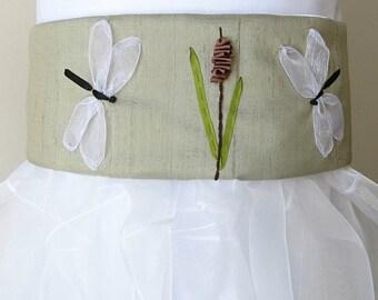 Flower girl wedding sash, Bridal accessory, Silk bridal sash with dragonflies, Ribbon embroidery, nature lover's wedding