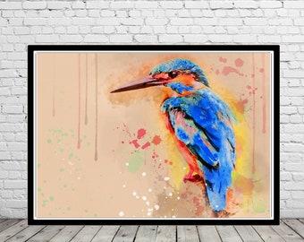 Kingfisher, Kingfisher art, Kingfisher watercolor, Kingfisher print, watercolor print, Room Decor, Poster, Wall Art, Home Decor, bird