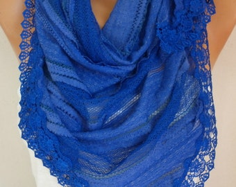 Passover Cobalt Blue Lace Scarf Spring Fashion Cotton Scarf Hanukkah Gift Gift Ideas For Her Women Fashion Accessories Mother's Day Gift
