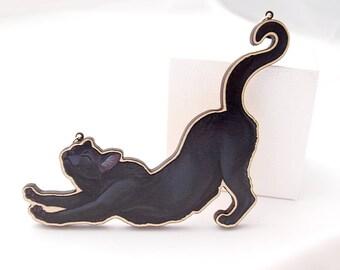 Collier en bois à étirement de chat - chat noir
