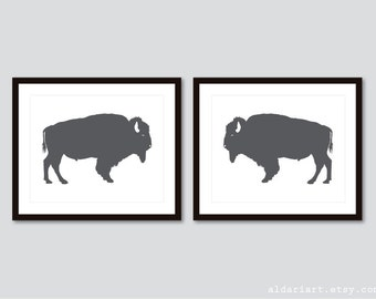 Buffalo Prints - Buffalo Wall Art - Bison Print - Charcoal Gray Buffalo Art - Buffalo Art - Buffalo Decor - Aldari Art