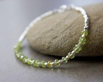 Peridot Gemstone Bracelet, Chakra bracelet,  Silver delicate gemstone  bracelet, Layering bracelet, August Birthstone Bracelet