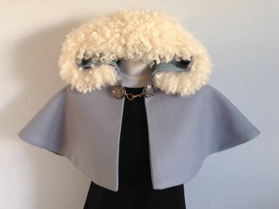 Hooded Caplet with British Leicester Sheepskin Trim