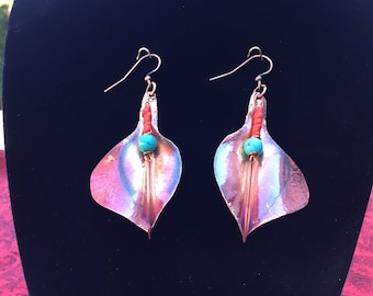 Patina Copper Leaf Earrings with Turquoise and Coral