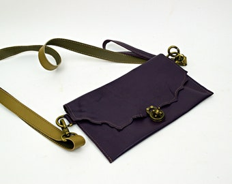 Purple Leather Purse with Brown leather Strap and Purple Wristlette Strap