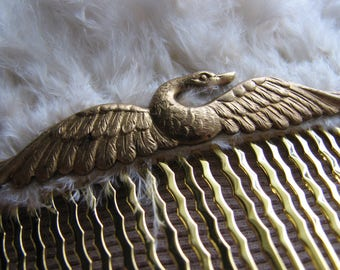 Hair comb gold | wedding | bridal | swan | feather fascinator | nature inspired