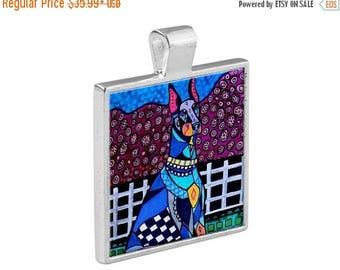 Doberman Dobbie Dog Folk Art Jewelry - Pendant Metal  Gift Art Heather Galler Gift-  Dog Lovers Abstract Modern Vegan Gifts