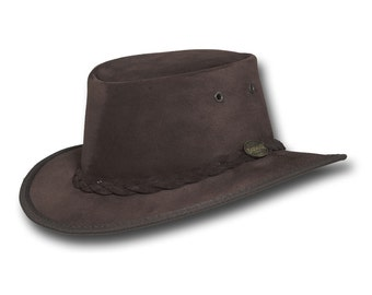 Barmah Hats 1094CH Narrow Brim Pig Suede Leather Hat in Chocolate