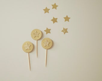 10 Cupcake Toppers Gold