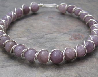 Light Lepidolite Beaded Sterling Silver Wire Wrapped Bracelet