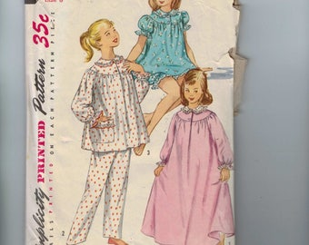 1950s Vintage Girls Sewing Pattern Simplicity 1828 Girls Pajamas Nightgown Night Shirt Size 8 Breast 26 50s