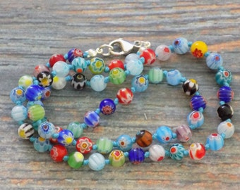 "19"" Millefiori Glass Bead Necklace on Nylon with Pearl Knots and Sterling Silver Findings, Boho, Flower, Birthday (blue)"