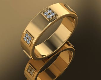 14K Gold Yellow Gold  Men's  Ring With  White Diamonds M-MBD1002