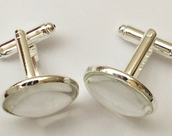 Groom Cufflinks, Best Man Cufflinks, Wedding Cufflinks, DIY Cufflinks Kit, Glass Cabochon, UK Suppy, Personalize