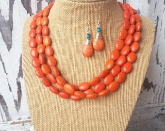 Orange Necklace Set. Orange Jewelry Set. Orange and Turquoise Earrings. Turquoise and Orange Bridesmaid Jewelry.Chunky Necklace.Jewelry Sets
