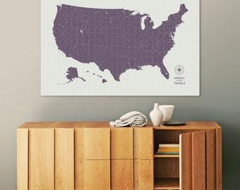 Push Pin Travel Map, US Map, Pin Map, Push Pin Map, USA Map, Map of USA, Map of Us, Canvas Map, Custom Travel Map, Our Travels, Vintage Map