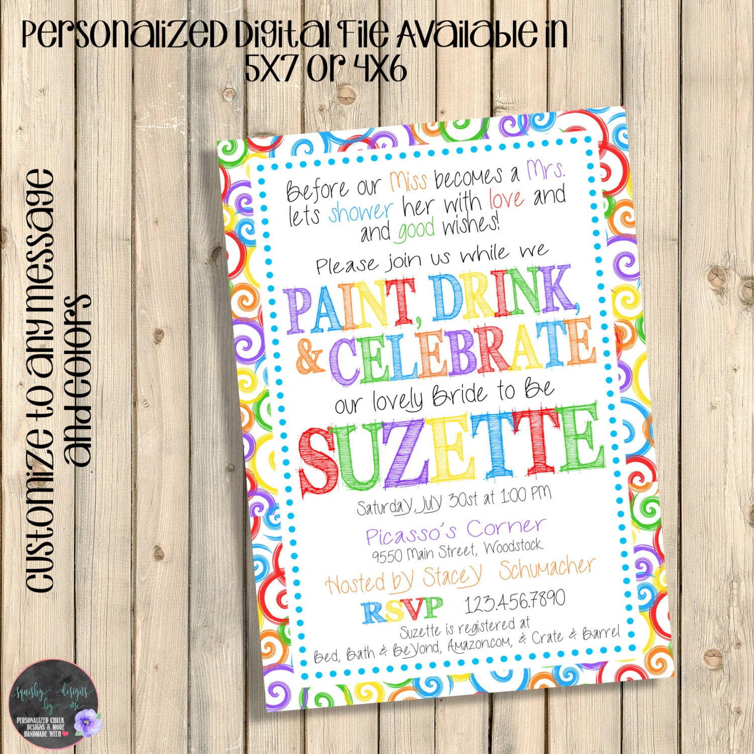Art Party Invitation Art Party Bridal Shower Paint and