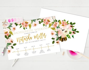 Bachelorette party Weekend Invitation Hens party Invitation Watercolor Floral Flowers Blush pink Bridal Shower Invitation itinerary Card