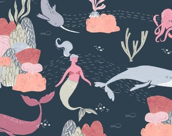 Narwhal Whale Mermaids Fabric Navy Blue - Into the Reef by Rae Ritchie Dear Stella - Quilters Cotton - Cotton Fabric
