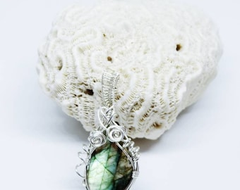 Labradorite Reversible  Sterling Silver wire wrapped pendant