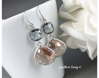 Bridesmaid Earrings Bridesmaid Gift Gray and Champagne Earrings Maid of Honor Gift Mother of Groom Gift Mother of Bride Gift Wedding