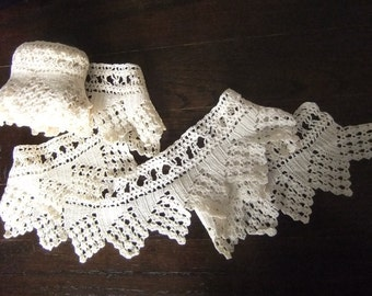Vintage Hand Crocheted Top Sheet Ecru Cotton Edging