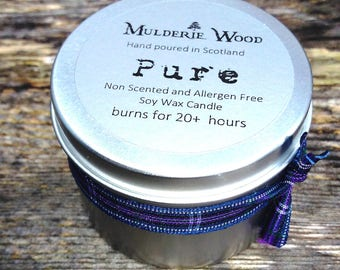 Pure Natural Unscented Fragrance Free Soy Wax Tin 20+ Hour Candle Handmade in Scotland