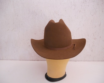 Vintage Resistol Cowboy Hat . NIOB . Chestnut Brown Felt . Style Cattleking . Long Oval . Size 6 5/8