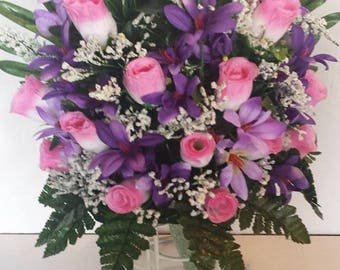 Flowers etsy mausoleum flower pink rose buds with purple filler flowers greenery one sided arrangment mightylinksfo Images