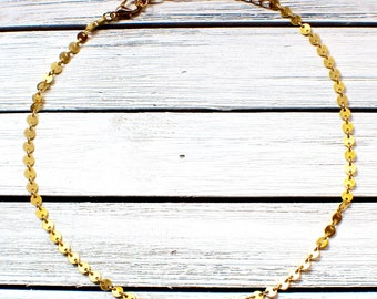 Gold Coin Choker- Adjustable Gold Coin Necklace- Gold Coin Chain