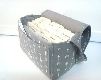 Large 4 Inch Size Coupon Organizer  Coupon Bag Budget Holder Box Attaches to Your Shopping Cart Gray with White Arrows  - Select Your Size