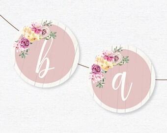 Baby Shower Banner Decoration - Garden Vintage Floral - Printable